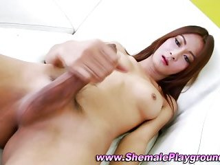 Asian shemale cums in hot solo