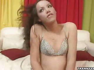 Slender tranny girl pleases a stud