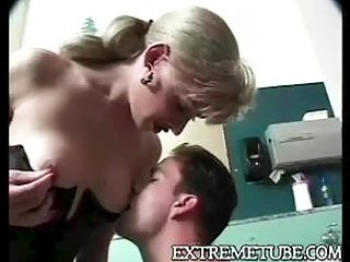 Blonde chick & guy fuck in the WC
