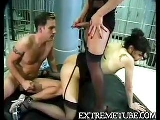 Two hot brunettes fucks with guy in the prison
