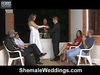 After the wedding gorgeous shemale fucks her husband