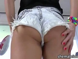 Sexy blonde tart Tihanna Quinn has sex with shemale Eva Cassini