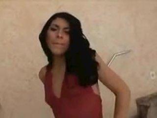 Slim latina tranny in a bath