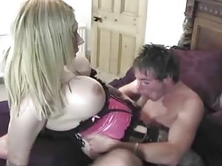 Titty tranny forced a guy to suck his own tool