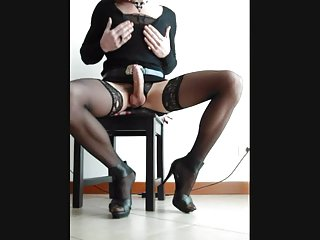 Sexy crossdresser masturbation