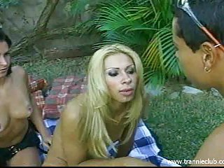Shemale, female and male outdoors erotic fun and sex