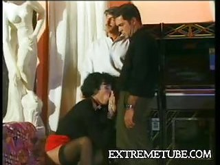 Vintage fucking trio with a lustful TS