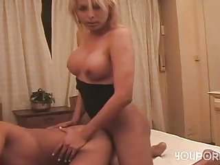 Busty blonde fucks a guy after her dick sucking