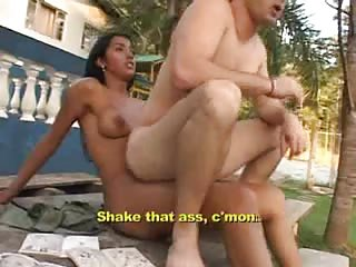 Outdoor fuck with a busty latina tranny chick