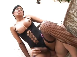 Super sexy lingeried brunette gets anal