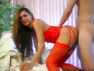 Tranny in red looks amazing