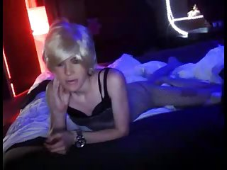 Foreplay and sucking for a petite CD blonde