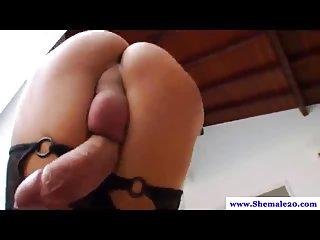 Sexy hot t-gurl plays with her huge dick for you