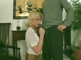 Blonde tranny wanking cock while guy fucks her
