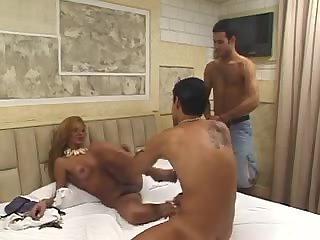 Blonde tranny eats two pricks in turn