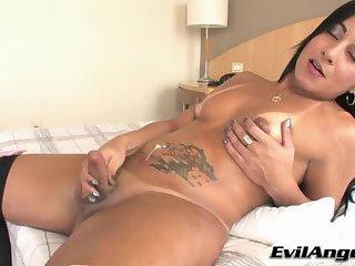 Sultry TS Thabata Piurany in cock masturbation and blowjob action