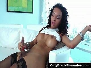 TS Nicole Starr strokes her black cock