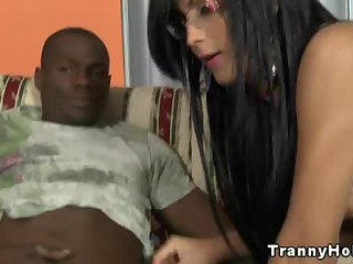 Tanlined TS tranny interracial blowjob