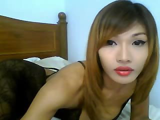 Asian tranny smokes by webcam