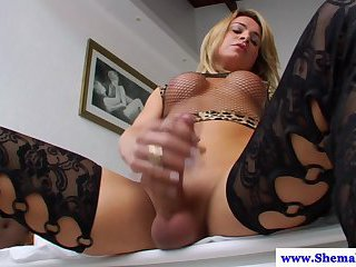 Tranny Camille Andrade spoils herself in solo masturbation time