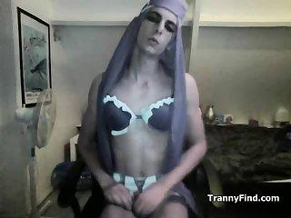 Crossdresser shows body