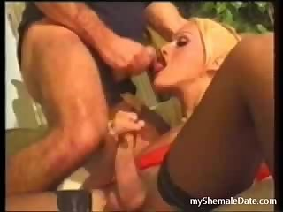 Blonde TS loves to swallow dick