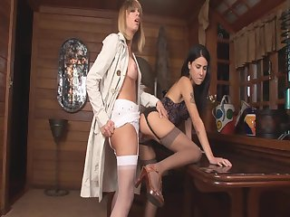 Lingeried tranny and her lover chick twosome