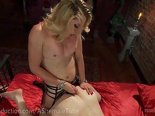 Blonde Mistress Fucks Man Slave