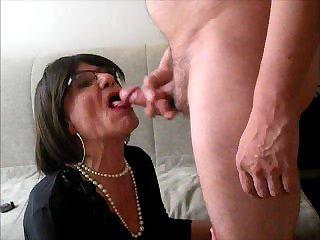 Lara deepthroat sucking and swallowing cum