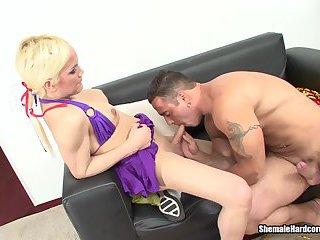 Blonde t-girl fucking muscular stud