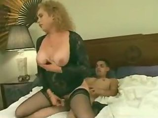 Busty blonde TS rides dude dick