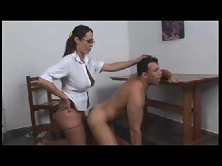 Shemale punishes guy