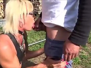 Blonde tranny in red adores sucking