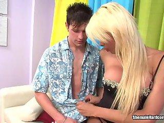 Hot Blond Tgirl Gets Fucked
