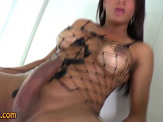 Solo tgirl strokes cock