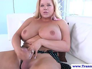 Plump shemale masturbation and toy fun