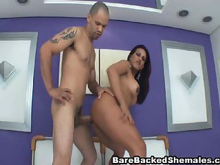 Big Tits Shemale Enjoys Bareback Fuck and Nasty Suck