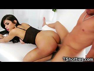 Tranny Gets Her Big Cock Deepthroated!