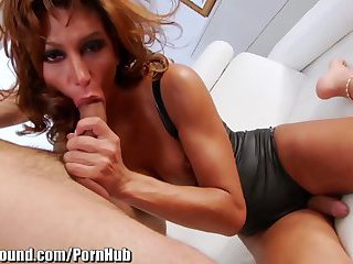 Sexy redhead fucks with huge dick