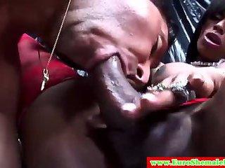 Black tranny fucks dude white dude ass