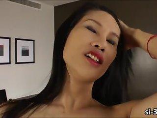 Ladyboy sweetheart Sai unleashes her huge dick and masturbates