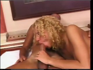 Curly Blonde Nailing a Guy