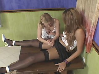 Tranny and chick table fuck