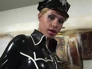 Blonde tranny in latex looks super hot
