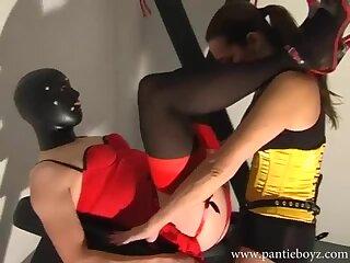 Mistress fucks big dick crossdresser hard and gives aggressive handjob to make her spunk