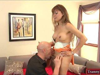 Mature TS Johanna and a guy ass drilling