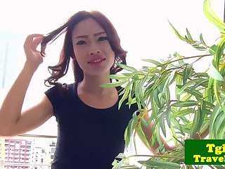 New ladyboy shows her tight bumhole