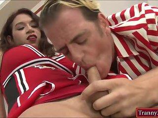 Busty cheerleader tranny Tori Mayes anal