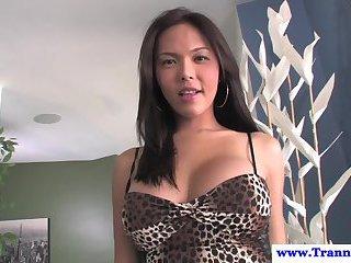 Filipino ladyboy models her busty body