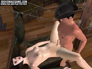 3D shemale babe gets fucked on a pirate ship